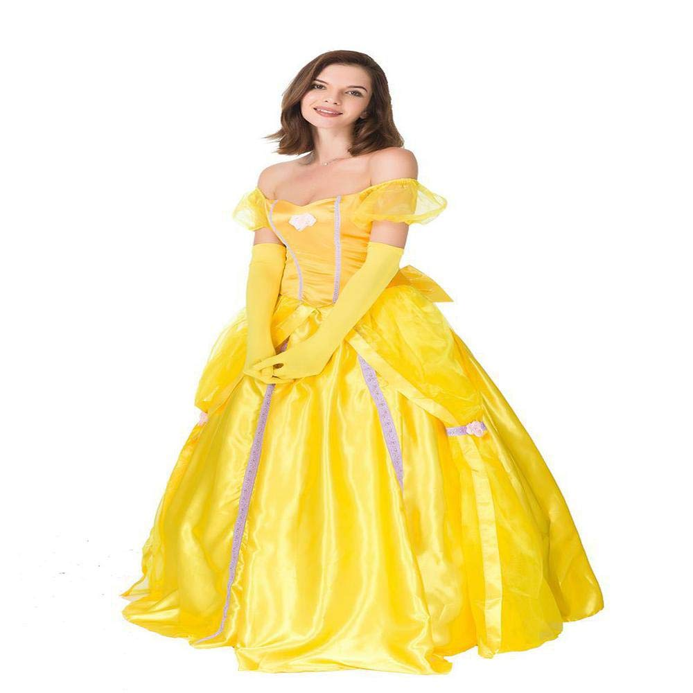YXRL La Bella Y La Bestia Vestido De Princesa Amarillo Adulto ...