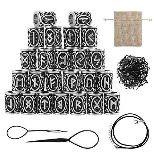 24 cuentas de runa vikinga, runa nórdica, cuentas de rasta, con bandas de goma negra, bolsa de herramientas para el cabello, para hombres y mujeres, joyería de bricolaje, pulsera con colgante