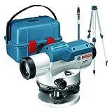 Bosch Professional Nivel Óptico GOL 32 D (aumento 32x, unidad de medida: 360grados, alcance: hasta 120m, regla graduada GR 500, trípode BT 160, en maletín de transporte)