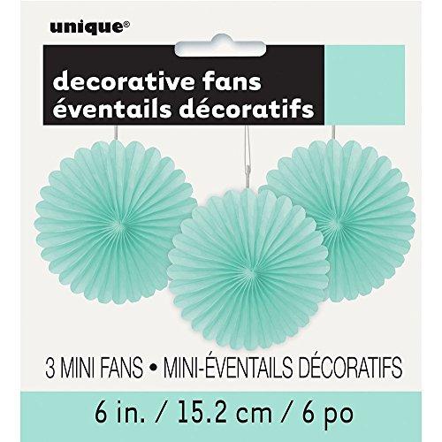 Unique Party- Paquete de 3 decoraciones abanicos pequeños de papel de seda, Color...