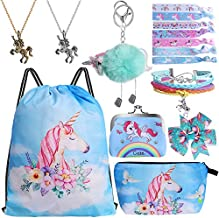 Standie 9PCS Drawstring Backpack for Unicorn Gift for Girls Include Makeup Bag Bracelet Necklace Set Hair Ties for Unicorn Party Favors(Blue)
