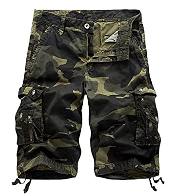 AOYOG Mens Camo Cargo Shorts Cotton, Drak Army Green Camouflage 083, Lable size 38(US 36)