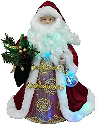 "LED Santa 12"" Fiber Optic Tree Topper or Table Centerpiece"