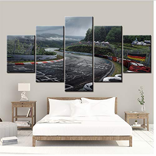 Muurkunst Home Decoratieve Moderne Populaire 5 Stuk Stijl Grote Poster Canvas Print Nurburgring Rally Road Schilderij -40x60 40x80 40x100cm Geen Frame