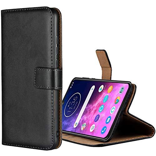 Aopan Moto One Zoom Hülle, Flip Echt Ledertasche Handyhülle Brieftasche Schutzhülle für Motorola Moto One Zoom, Schwarz