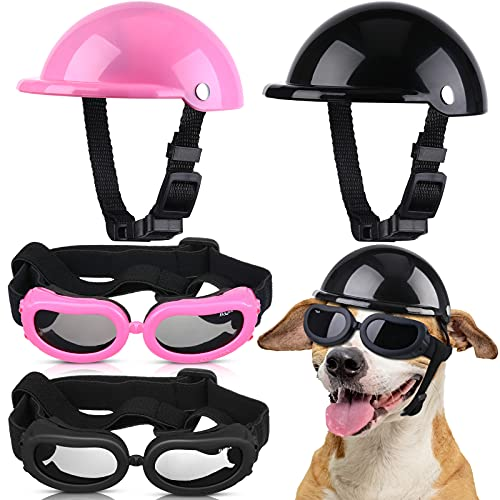 Frienda 4 Pieces 4 Inch Pet Dog Helmet and Goggles Set Paded Pet Motorcycle Helmet and Dog Sunglasses Safety Pet Cap and Adorable Pet Goggles with Adjustable Belt for Small Dog Riding Cycling Outdoor
