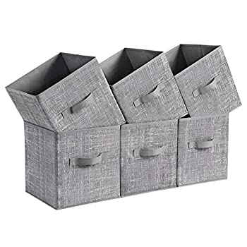 SONGMICS Storage Boxes Set of 6 Non-Woven Fabric Foldable Storage Cubes Toy Clothes Organizer Bins Heathered Gray UROB26LG