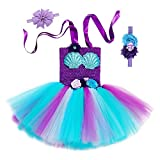 Girl Ariel Mermaid Costume Dress - Handmade Halloween Party Cosplay Birthday Tutu Outfit for Kid Toddler Child with Headband