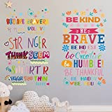 2 Pieces Colorful Inspirational Lettering Quote Wall Decal Motivational Phrases Sticker You're Braver Than You Believe, Be Thankful, Positive Quote Sticker for Classroom Kids Decor (Random Patterns)