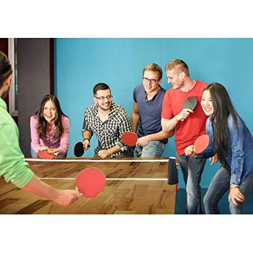 PRECORN - Juego de 2 raquetas de tenis de mesa + pelotas de tenis de mesa + bolsa + red de tenis de mesa extensible