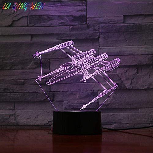 Lámpara de ilusión 3D Luz de noche LED T-65B X Caza estelar con alas Niños Amigo Regalo de vacaciones Dormitorio Decoración Star Wars Lámpara de mesa Space Fighter