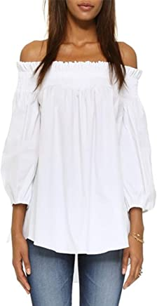 a7d3dc3d6 ZANZEA Women's Off Shoulder Loose 3/4 Sleeve Ruched Tie Cuff Tops Summer  Tunic Shirt