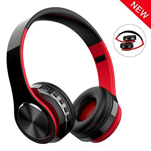 Cascos Bluetooth Inalámbrico, Macrout Auriculares de Diadema Portatiles con Micrófono, FM Radio Manos Libres y TF Tarjeta Almohadillas Suaves para iPad, iPhone, Móviles Android, PC (Rojo Negro)