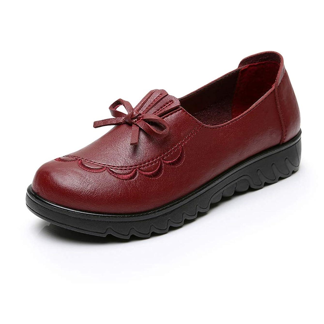 演劇発信殺します[実りの秋] シニアシューズ レディース 26.0CMまで お年寄りシューズ リボン 疲れにくい 滑り止め 婦人靴 モカシン 介護用 軽量 安定感 通気性 高齢者 母の日 敬老の日 通年