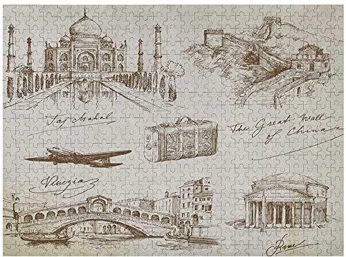Rompecabezas de Viaje para niños de 1000 Piezas, Lugares de interés turístico de fama Mundial con ilustración de avión y Maleta Vieja, Beige