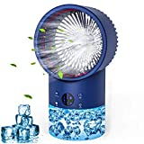 Portable Air Conditioner Fan, Personal Air Cooler Mini with Timing, 7 Colors Light, 3 Speeds Quiet Air Humidifier, for Room, Home, Office (Light Blue)