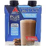 Atkins Plus Protein Fiber Creamy Milk Chocolate, 4 Shakes, Total 44 fl oz (Pack of 2)