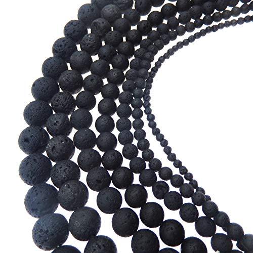 JulieWang schwarze natürliche Energiesteine / Lavasteine, zur Schmuckherstellung, Heilkraft, 4 -20mm 6 mm