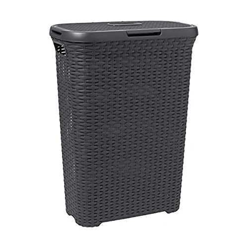 CURVER | Coffre à linge 40L - Aspect rotin, Anthracite, Laundry Hampers & Baskets, 44,7x26,5x61,5 cm