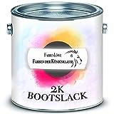 Laca de yate Brillante 2-K, Incluye Barniz endurecedor Fibra de Vidrio, poliéster y plástico, selección de Colores e incoloro, Color de Barco, Pintura de yate, Barniz de 2 componentes, incoloro, 1 kg