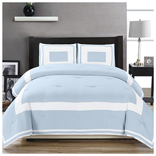 Superior Grammercy Color Blocked Comforter Set with Pillow Shams, Luxury Hotel Bedding with Soft Microfiber Shell, All Season Down Alternative Fill - Full/Queen, Light Blue