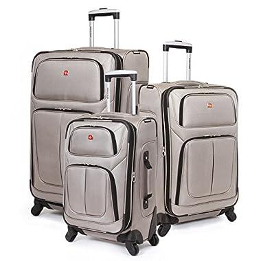 SwissGear 3 Piece Spinner Wheel Suitcase Set - Softshell & Lightweight