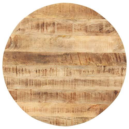 vidaXL Mangoholz Massiv Tischplatte Massivholzplatte Holzplatte Ersatztischplatte Holz Platte für Esstisch Esszimmertisch Rund 15-16mm 80cm