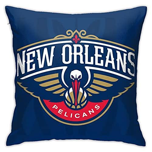 New Orleans Pelicans - Fundas de almohada cuadradas de pellets suaves y decorativas, transpirables, elegantes fundas de cojín para sofá, dormitorio, 45,7 x 45,7 cm