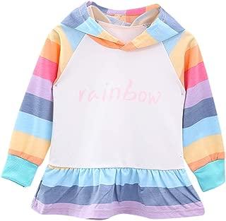 Toddler Kids Baby Girl's Dress Long Sleeve Rainbow Hoodie Sweatshirt Casual Shirt Pullover T Shirt Skirts