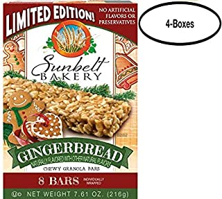 Sunbelt Bakery Gingerbread Chewy Granola Bars, 1.0 oz Bars, 8 Count Per Box, 4 Boxes