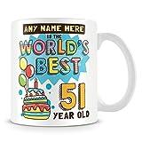 Taza de café, regalo de 51 cumpleaños para hombres, taza de café personalizable, de cerámica, 11 onzas, color blanco