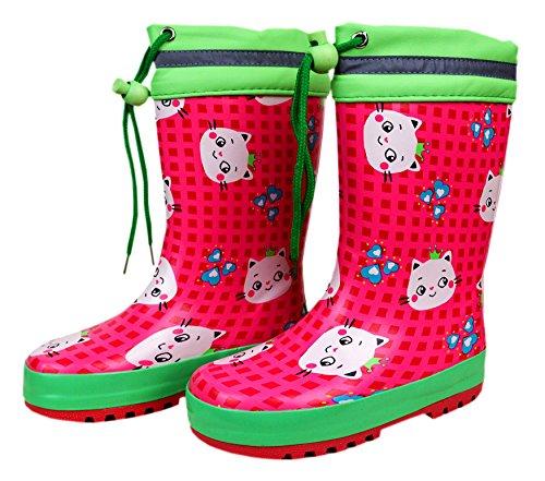maximo, Kindergummistiefel, Babygummistiefel, Gummistiefel, pink Rose/mintgrün, Motiv Katze, mit Bund und Jersey-Futter, Naturgummi (32, pink Rose/mintgrün)