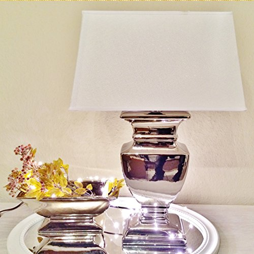 Keramik Lampen Lampenfuß Lampenschirm Tischlampe Nachttischlampe Tischleuchte (SILVER LADY 43 cm (Fuß: Silber - Schirm: Weiß))