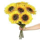 Paras Artificial Silk Sunflowers 6 Pcs Long Stem Fake Sunflowers Bouquet Large Sunflowers Decor for Home Hotel Office Wedding Party Garden …