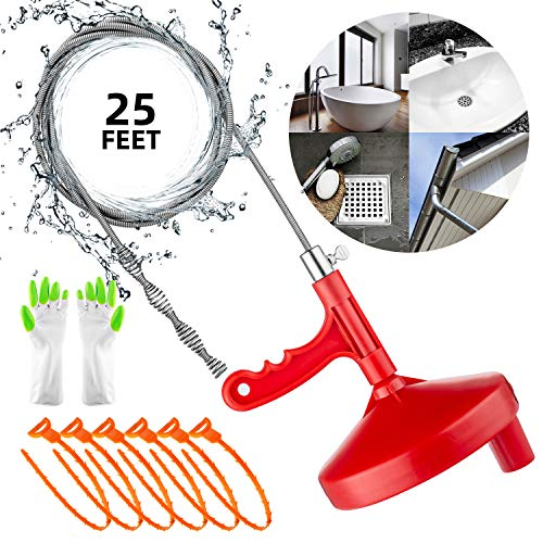 Oriflame 25 Feet Plumbing Snake Drain Auger Flexible Sink Snake Pipe Drain Cleaner Drain Opener for Bathroom Kitchen Sink, Shower Drain, Come with Gloves and 6 Pack 19.6 Inch Snake Hair Clog Remover