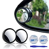 2 pcs Blind Spot Mirrors, 2' Round HD Glass Convex 360°Wide Angle Side Rear View Mirror withABS Housing for Cars SUV and Trucks, Black, Pack of 2
