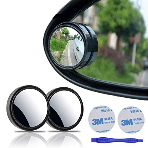 """2 pcs Blind Spot Mirrors, 2"""" Round HD Glass Convex 360°Wide Angle Side Rear View Mirror withABS Housing for Cars SUV and Trucks, Black, Pack of 2"""