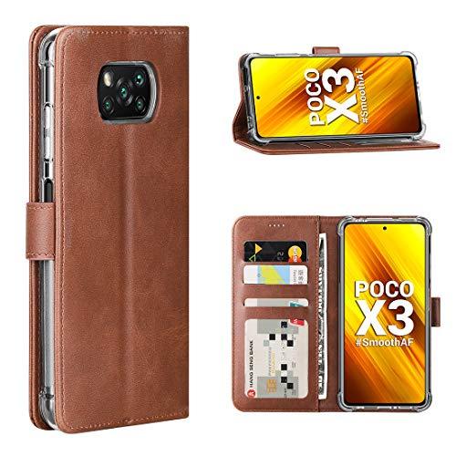 Cresee für Xiaomi Poco X3 NFC/Poco X3 Pro Hülle, PU Leder Handyhülle mit 3 Kartenfächer, Schutzhülle Hülle Tasche Magnetverschluss Flip Cover Stoßfest für Poco X3 / X3 Pro (Braun)