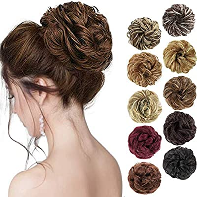 1PCS Messy Hair Bun Hair Scrunchies Extension Curly Wavy Messy Synthetic Chignon for women Updo Hairpiece