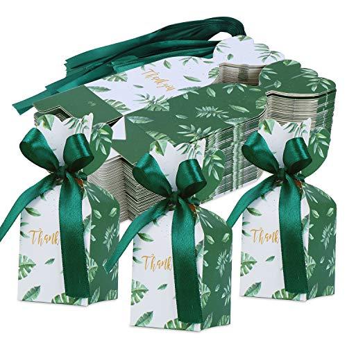 TsunNee 50 cajas de caramelos de papel, cajas de recuerdos de boda Mori, caja de regalo con forma de jarrón, cajas creativas de papel con cintas para galletas y joyería de chocolate