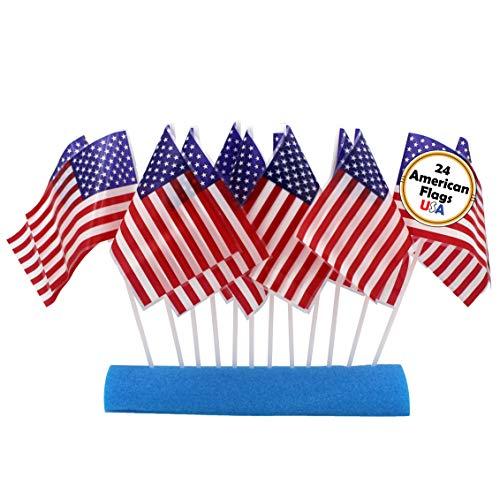 Amerikanische Flaggen aus Kunststoff auf Stäben, ideal für Patrioten, 4. Juli, 15,2 x 10,2 cm, 24 Stück