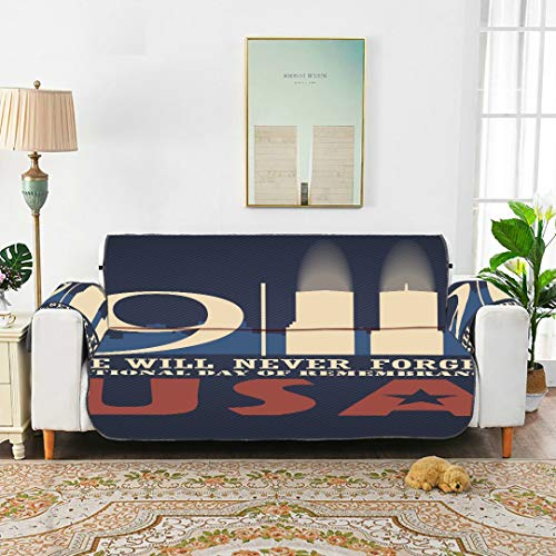 WYYWCY Patriot Day Vector Poster September 11 Cover Sofa Tewene Couch Cover Sofa Cover T-cushion Sofa Slipcover 66'(168cm) For 3 Seat Machine Wash Arm Chair Cover