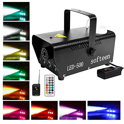 Fog Machine with LED Lights, 3 Effects in Separate Fog/Separate Light/Both Fog and Light, Wireless and Wired Remotes with Prehearing Light Indicator, Smoke Machine with Changeable Multiple Colors