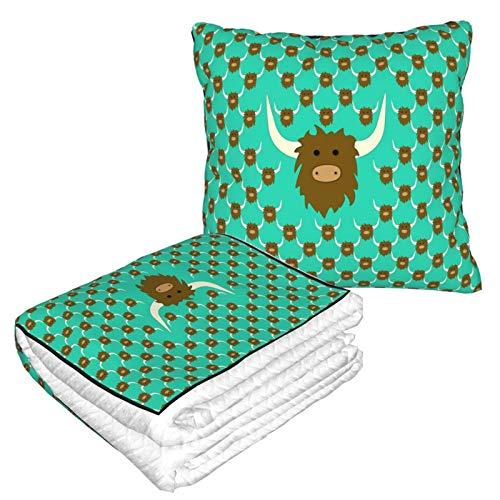 SLADDD1 Manta de almohada de cara de toro 2 en 1 Combo manta de viaje suave patrón manta portátil