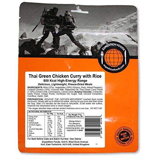 Expedition Foods Verde tailandés Curry de Pollo con arroz Alta energía Servir Alimentos liofilizado, Color Naranja, 800Kcal