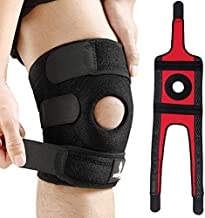 NEENCA Knee Brace with Side Stabilizers & Patella Gel Pads, Adjustable Velcro Straps Knee Support Wrap for Knee Pain,Running,Meniscus Tear,ACL,Joint Pain Relief, Injury Recovery,Sports-4 Sizes. ACE-55