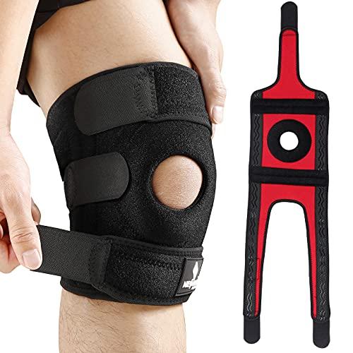 NEENCA Kniestütze mit Patella Gel Pads & Feder Seitenstabilisatoren Verstellbare Klettverschlüsse Kniebandage für Knieschmerz,Meniskusriss,Arthritis,ACL,Gelenkschmerz, Verstauchungen-4 Sizes.ACE-55