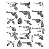 Gun Weapon Charm - JIALEEY 22pcs Mixed Pistol Revolver Grenade Weapon Charms Pendants DIY for Necklace Bracelet Jewelry Making Accessory, Antique Silver