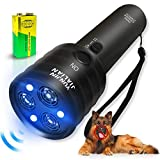 Handheld Dog Repellent Sonic Anti Barking Device, 3 Channels and Strong LED Flashlights, Sonic Bark Deterrents...