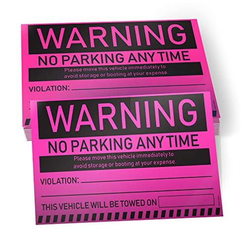 """No Parking Violation Stickers Hard to Remove (Pink) 10-Pack Towing Tags for Illegally Parked Vehicles in Your Lot - Super Sticky Car Permit Notices for Bad or Careless Parking 8"""" x 5"""" by MESS"""